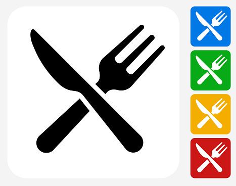 Kitchen Utensils Icon Flat Graphic Design