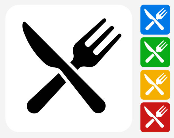 Kitchen Utensils Icon Flat Graphic Design Kitchen Utensils Icon. This 100% royalty free vector illustration features the main icon pictured in black inside a white square. The alternative color options in blue, green, yellow and red are on the right of the icon and are arranged in a vertical column. utility knife stock illustrations