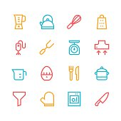 Kitchen utensils icons - line | set 1 - color series
