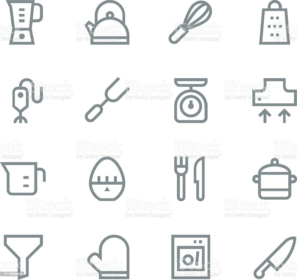 Kitchen utensils icons - line | set 1 vector art illustration