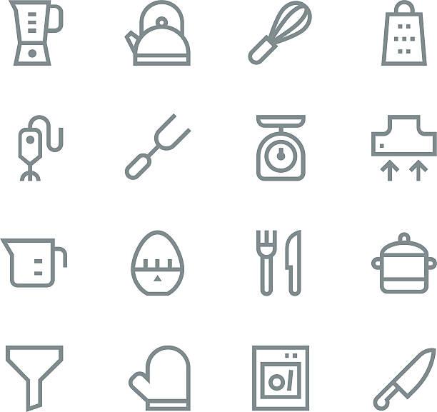 küchenutensilien symbole satz 1-linie/linie - küchenmixer stock-grafiken, -clipart, -cartoons und -symbole