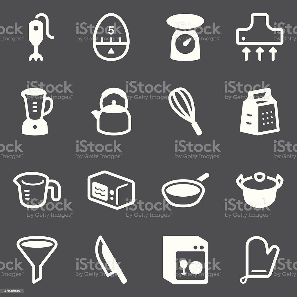 Kitchen Utensils Icons   set 1 - White Series royalty-free stock vector art