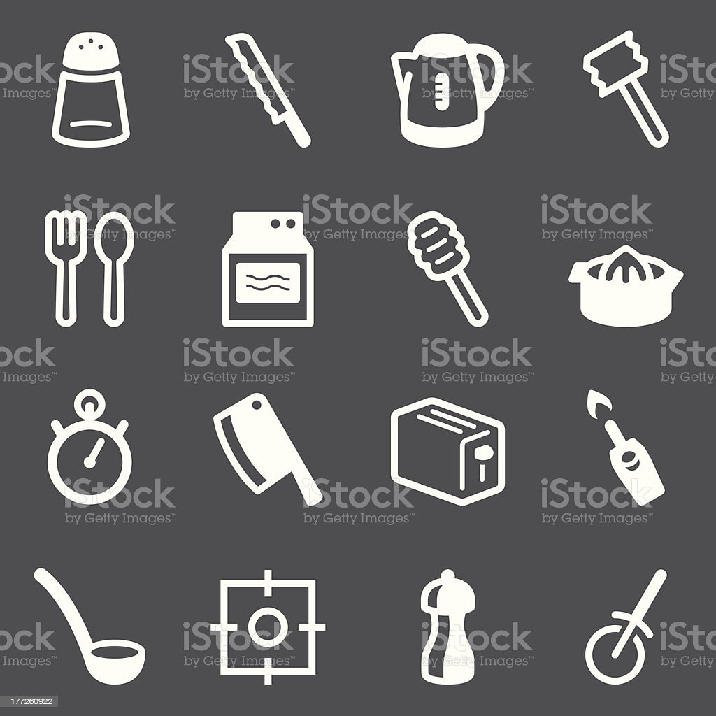Kitchen Utensils Icons | set 2 - White Series royalty-free kitchen utensils icons set 2 white series stock vector art & more images of appliance