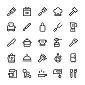 Kitchen utensils icons Set2 - Medium Line Vector EPS File.