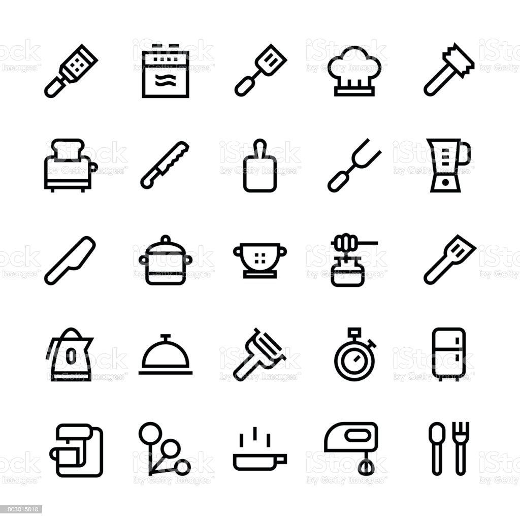Kitchen utensils icons Set2 - Medium Line vector art illustration