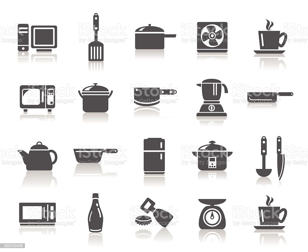 Kitchen Utensils Icons vector art illustration