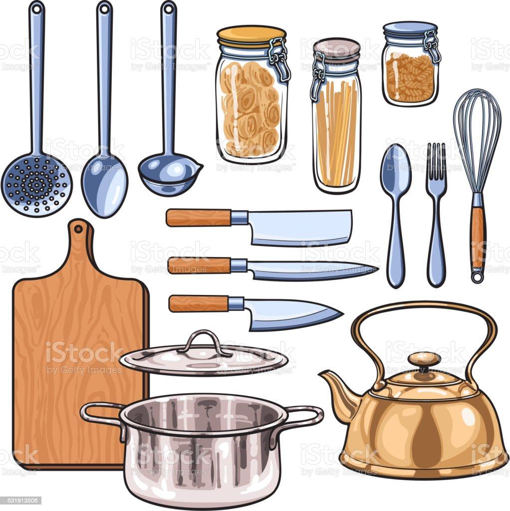 utensilios de cocina en un estilo de dibujo color