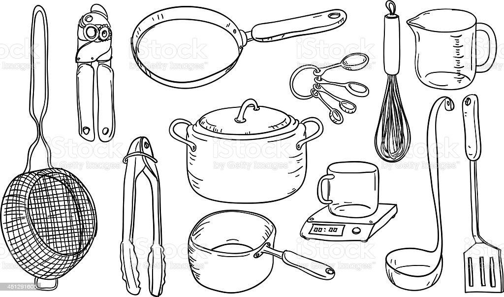 Kitchen utensils in black and white vector art illustration