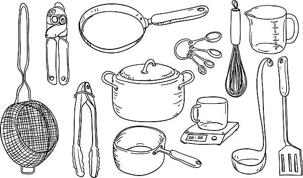 Kitchen utensils in black and white Kitchen utensils in black and white frying pan stock illustrations