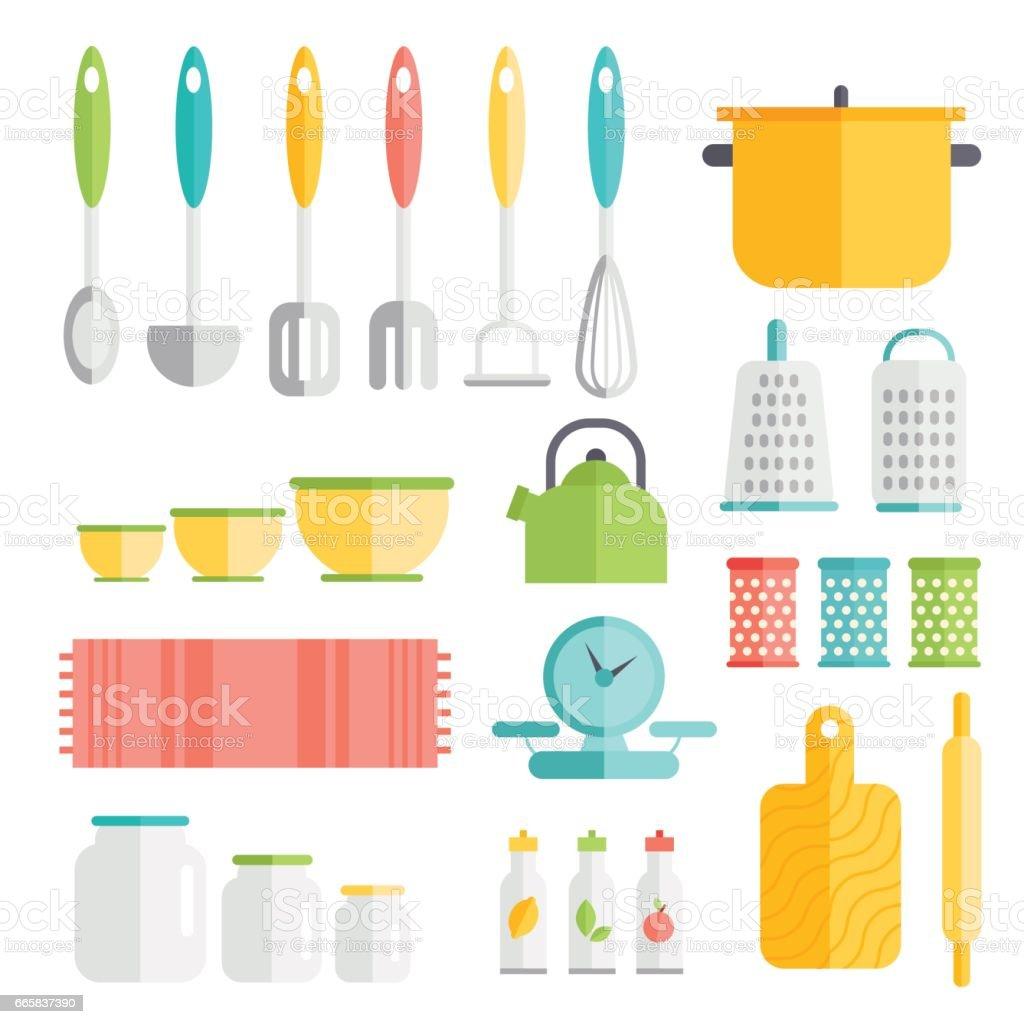 Küchengeräte In Flachen Stildesign Küche Geschirr Symbole Interieur ...