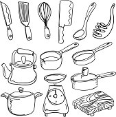 Kitchen utencils in sketch style, black and white