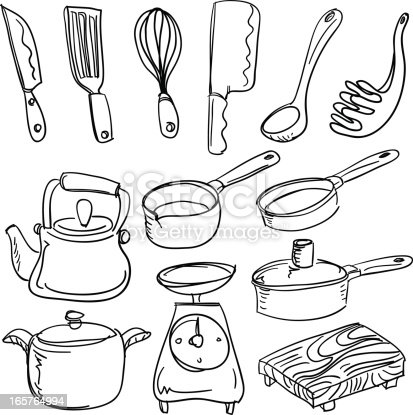 Kitchen Utensils In Sketch Style Stock Vector Art U0026 More Images Of Black And White 165764994 ...