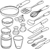 Kitchen utencils in sketch style, black and white