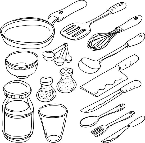 Kitchen utensils in sketch style Kitchen utencils in sketch style, black and white frying pan stock illustrations