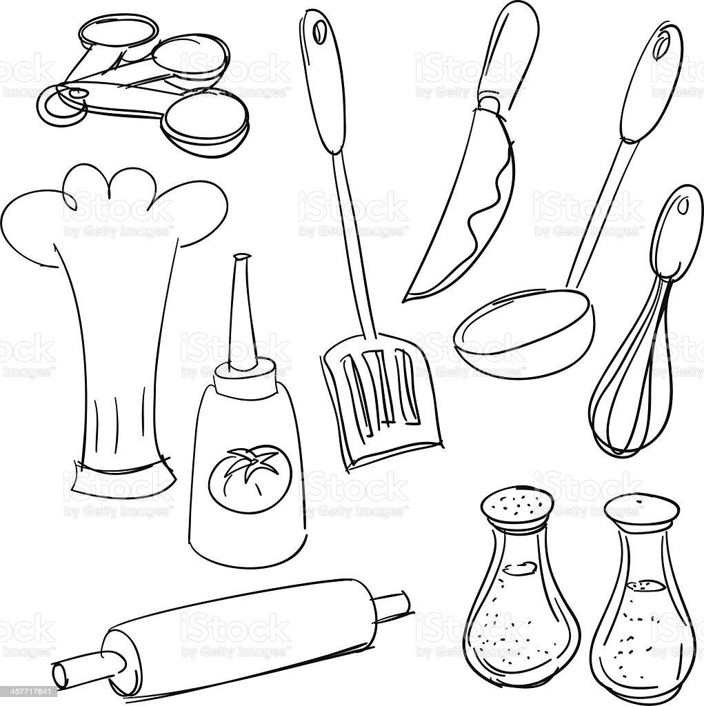 Kitchen utensils in sketch style stock vector art more for Utensilios de cocina para pintar