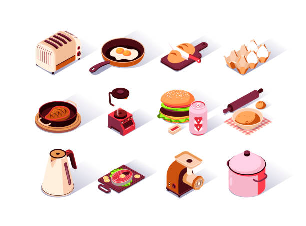 Kitchen utensils isometric icons set. Toaster, coffee maker, hamburger with soda, electric kettle, meat grinder, blender and fried eggs in pan. vector art illustration