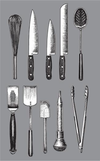 Kitchen Utensils - Knife, Spatula, Spoon, Whisk, Tongs