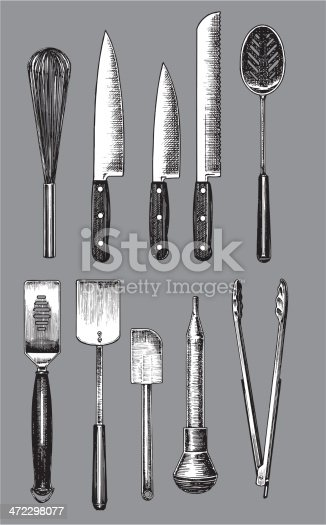 Pen and ink style illustrations of kitchen utensils. Color changes a snap. Check out my