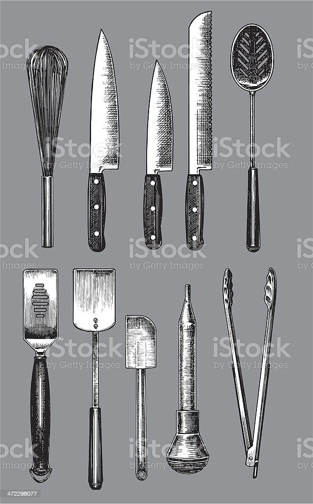 Kitchen Utensils - Knife, Spatula, Spoon, Whisk, Tongs vector art illustration