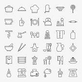 Kitchen Utensils Line Art Design Icons Big Set. Vector Set of Modern Thin Outline Cooking and Kitchenware Appliances Symbols.