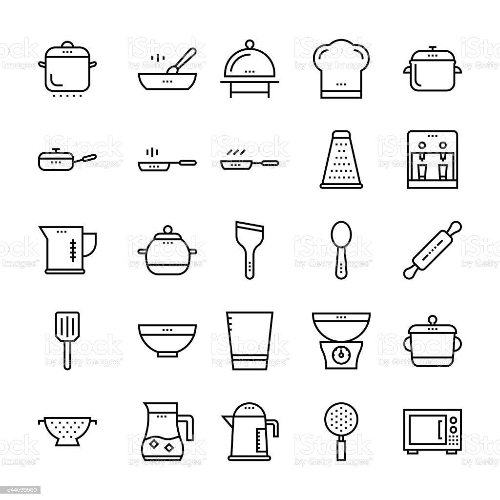 Kitchen Utensils Vector Vector Kitchen Utensils Free - Kitchen utensils outline vector icons 2 royalty free stock vector art