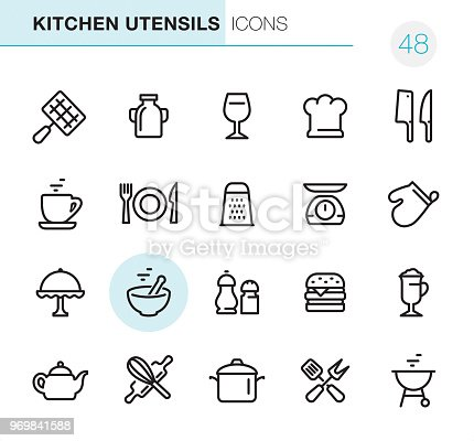 20 Outline Style - Black line - Pixel Perfect icons / Set #48 Icons are designed in 48x48pх square, outline stroke 2px.  First row of outline icons contains: Barbecue Grill, Milk Bottle, Wineglass, Chef