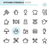 """20 Outline Style - Black line - Pixel Perfect icons / Set #48 Icons are designed in 48x48pх square, outline stroke 2px.  First row of outline icons contains: Barbecue Grill, Milk Bottle, Wineglass, Chef""""s Hat, Meat Cleaver and Kitchen Knife;  Second row contains: Cup, Crockery, Grater, Weight Scale, Oven Mitt;   Third row contains: Serving Tray, Mixed Bowl, Salt and Pepper Shaker, Hamburger, Latte;    Fourth row contains: Teapot, Crossed Rolling Pin and Wire Whisk, Cooking Pan, Crossed Spatula and Kitchen Fork, Charcoal Grill;  Complete Primico collection - https://www.istockphoto.com/collaboration/boards/NQPVdXl6m0W6Zy5mWYkSyw"""