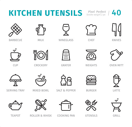 Kitchen Utensils - Pixel Perfect line icons with captions