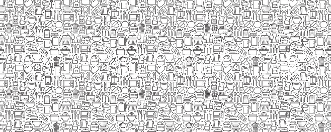 Kitchen Utensils Seamless Pattern and Background with Line Icons