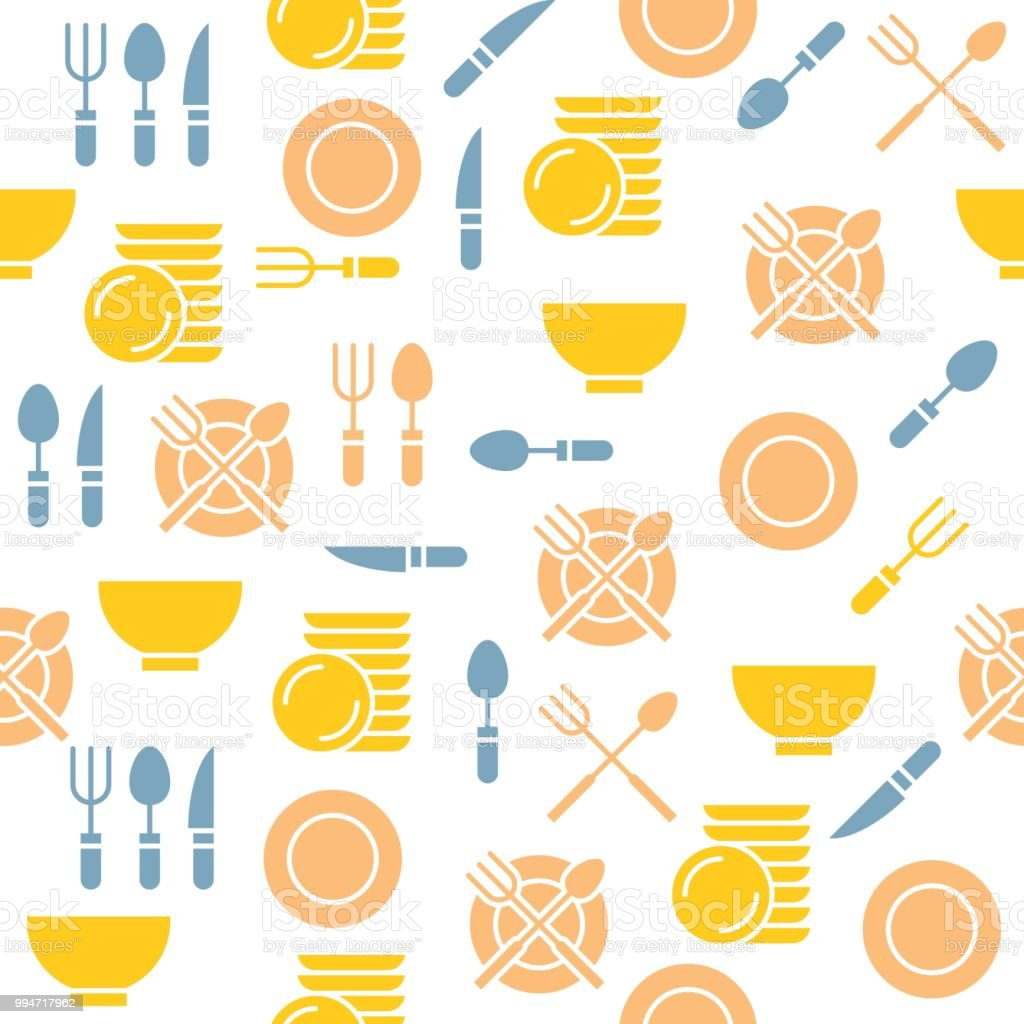 Kitchen Utensils Seamless Pattern For Wallpaper Or Print On Wrapping