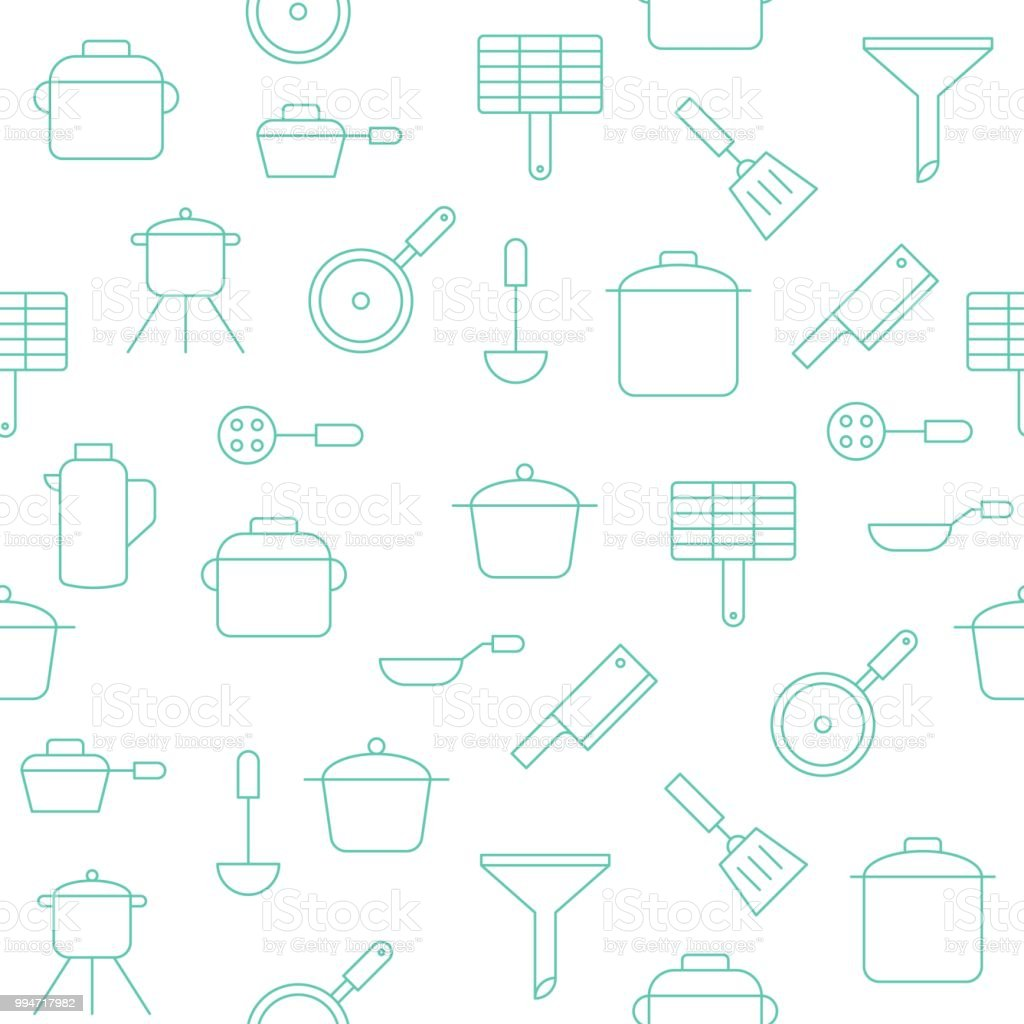 Kitchen Utensils Seamless Pattern For Wallpaper Or Wrapping Paper