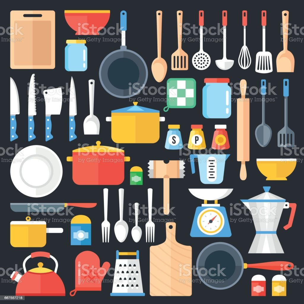 Kitchen utensils set. Kitchenware, cookware, cutlery, kitchen tools collection. Modern flat icons set, graphic elements, objects. Flat design concept. Vector illustration vector art illustration