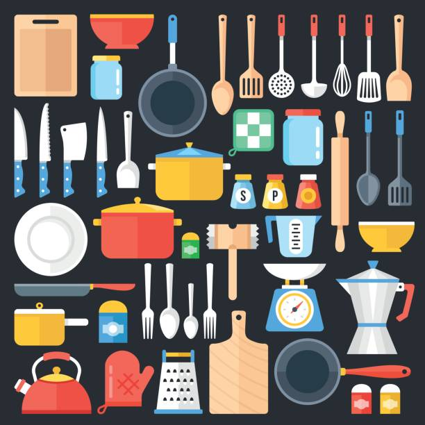 Kitchen utensils set. Kitchenware, cookware, cutlery, kitchen tools collection. Modern flat icons set, graphic elements, objects. Flat design concept. Vector illustration Kitchen utensils set. Kitchenware, cookware, kitchen tools collection. Modern flat icons set, graphic elements, objects for websites, web banner, infographics. Flat design concept. Vector illustration frying pan stock illustrations