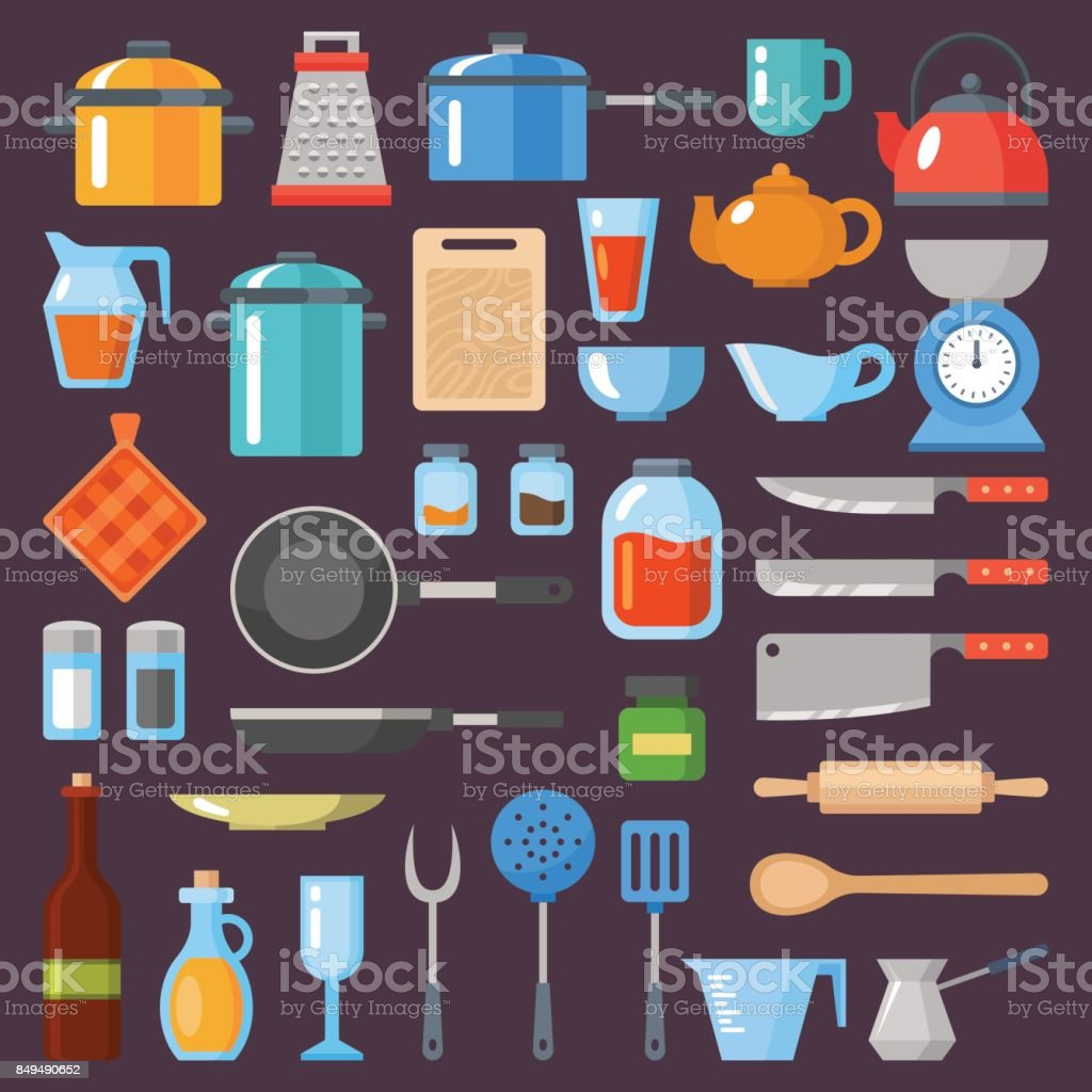 Kitchen Utensils Set Kitchenware Cookware Kitchen Tools Collection Modern Flat Icons Set Graphic Elements Objects For Website Web Banner Infographics Flat Design Concept Stock Illustration Download Image Now Istock