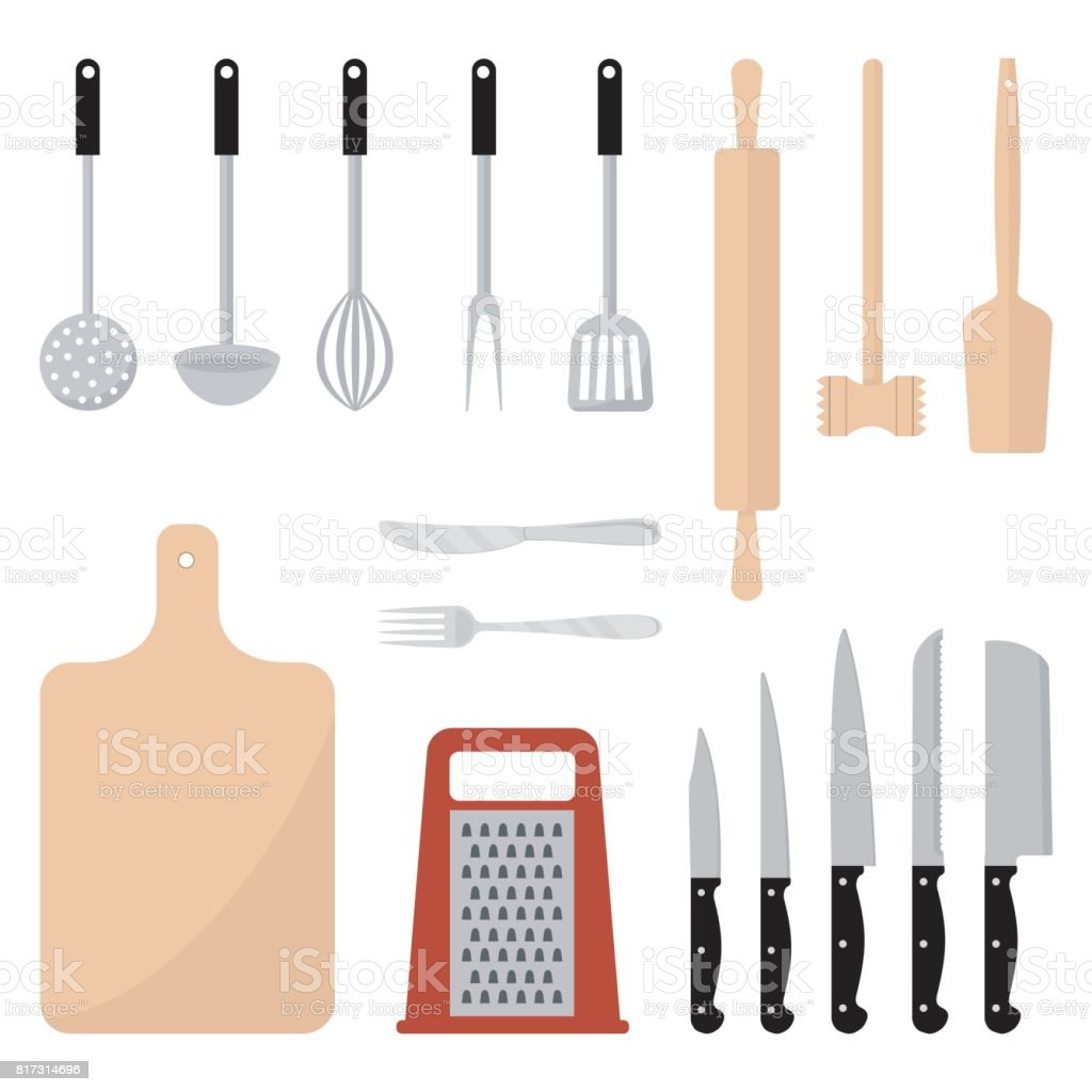 Küchenutensilien Festgelegt Geschirr Küche Werkzeuge Sammlung Stock ...