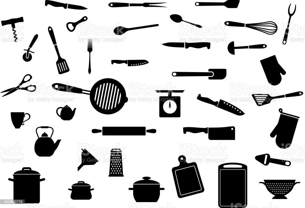 Küche Geschirr Set Stock Vektor Art und mehr Bilder von Accessoires ...