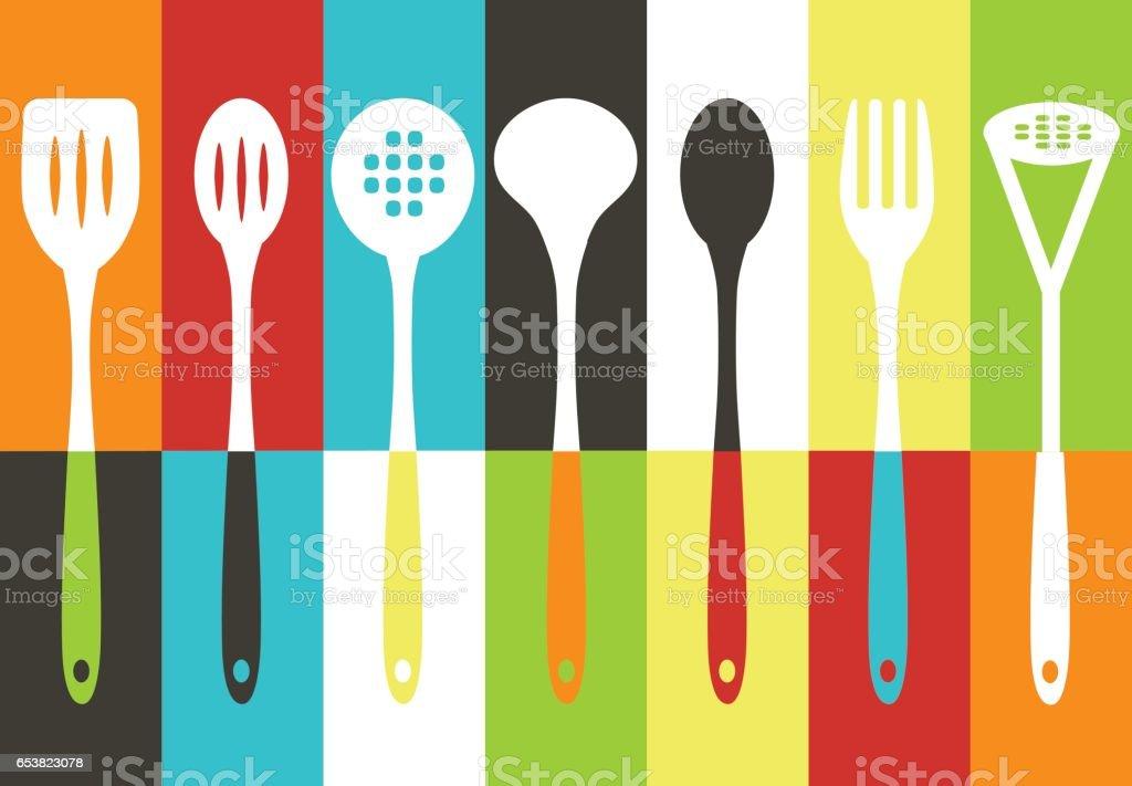 Kitchen utensils set vector art illustration