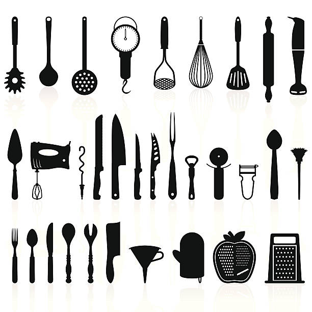 Kitchen Utensils Silhouette Pack 1 - Cooking Tools Detailed and precise kitchen utensils silhouettes/icons set. Includes the most common kitchen tools. Layered composition. cooking utensil stock illustrations