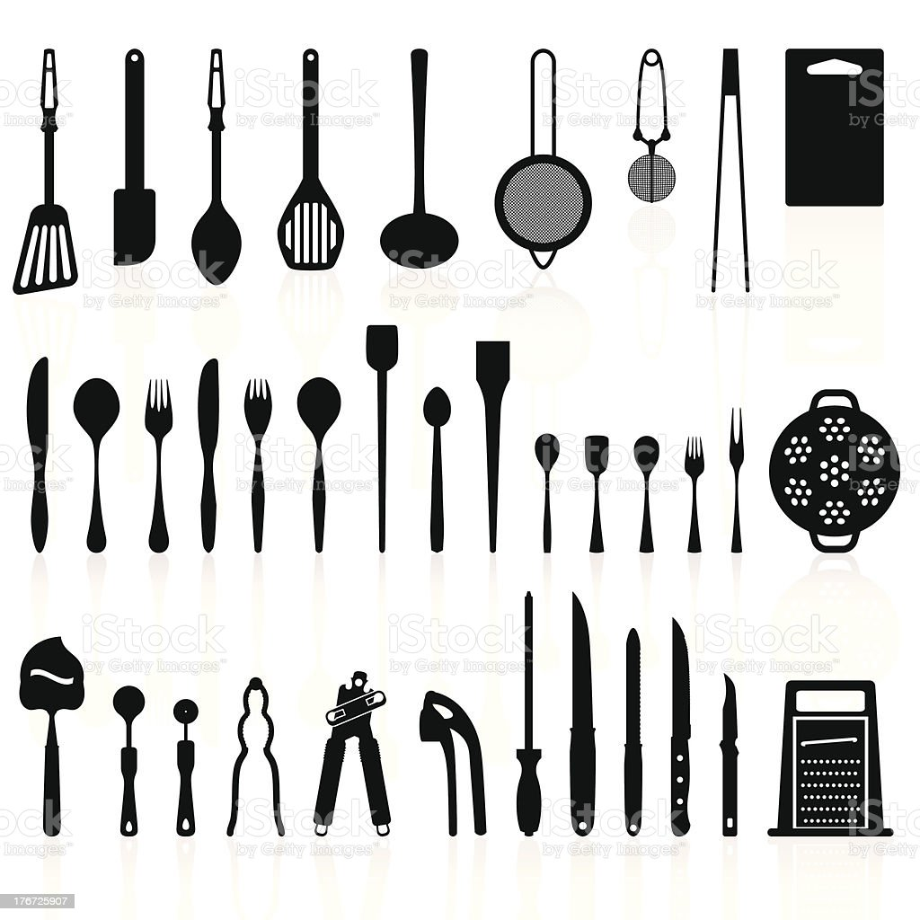 Kitchen Utensils Silhouette Pack 2 Cooking Tools Stock Vector Art ...