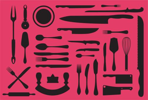 Kitchen utensils silouhette collection