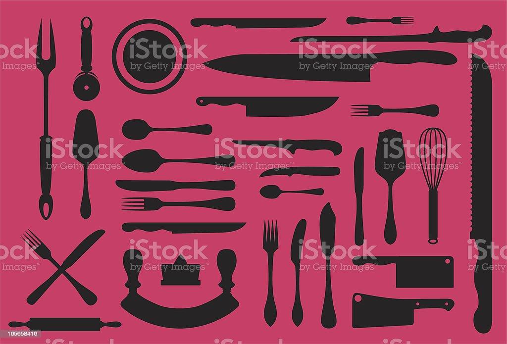 Ustensiles de cuisine collection silouhette - Illustration vectorielle