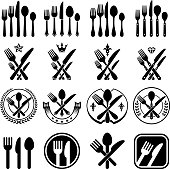 Utensils black & white set