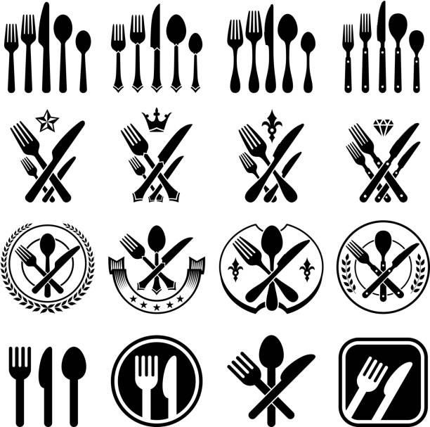 Set Of Black Kitchen Icons Utensils Stock Vector: Best Silverware Illustrations, Royalty-Free Vector