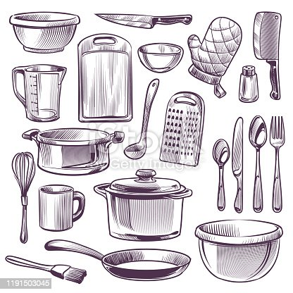 Kitchen utensils. Sketch cooking equipment. Frying pan, knife and fork, spoon and bowl, cup and glass, cutting board doodle retro vector home dinner kitchenware set