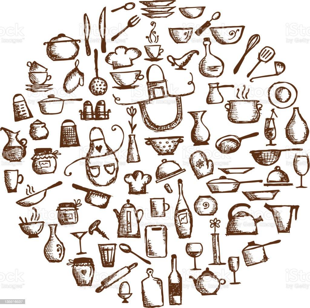 Küchenutensilien Skizze Zeichnung Für Ihr Design Stock Vektor Art ...