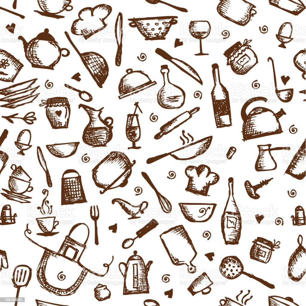 Desenho De Utens Lios De Cozinha Padr O Sem Emendas Arte  ~ Desenho Utensílios De Cozinha