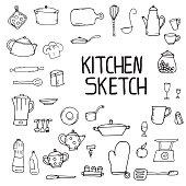 kitchen utensils sketch pencil hand