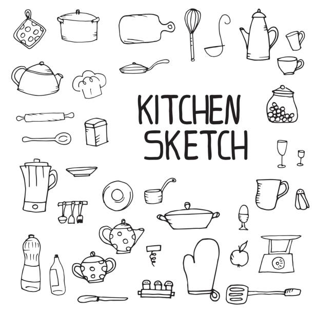 kitchen utensils sketch kitchen utensils sketch pencil hand kitchenware department stock illustrations