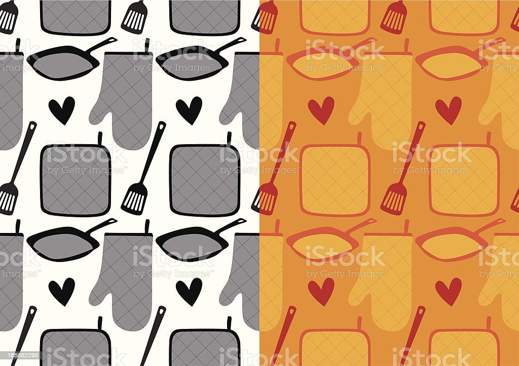 Kitchen utensils - Two seamless retro pattern. royalty-free stock vector art