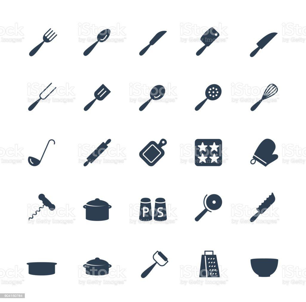Kitchen utensils vector icons set in glyph style vector art illustration